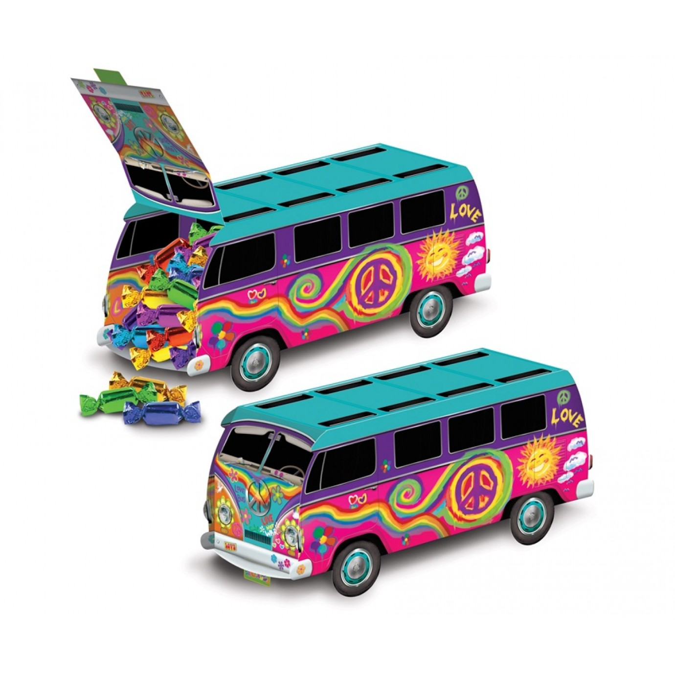 Centrepiece hippie combi van centerpieces for Decoration hippie
