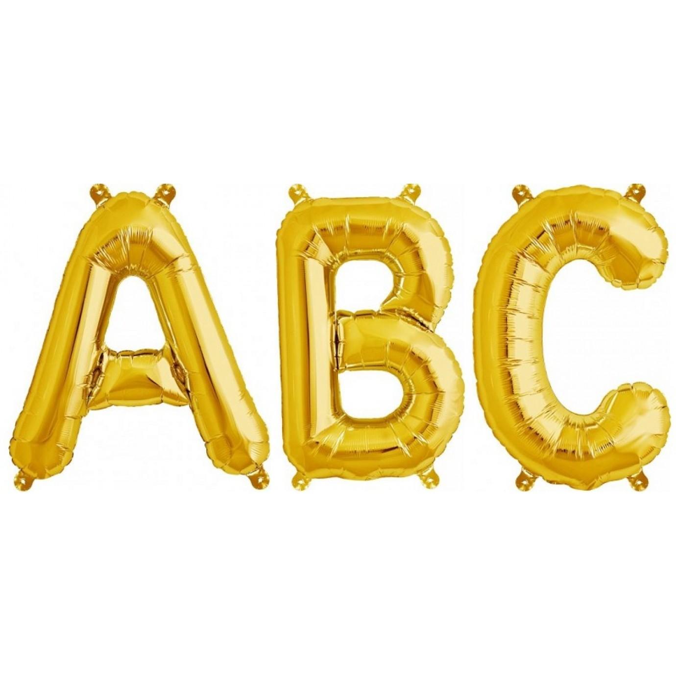Balloon foil letter medium gold foil balloons for Gold letter balloons