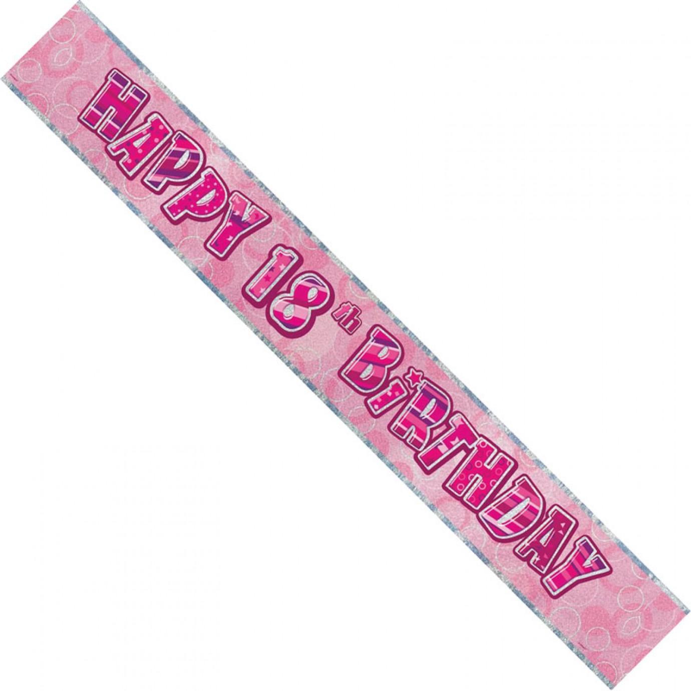 Banner, Foil - Pink Glitz, Happy 18th Birthday