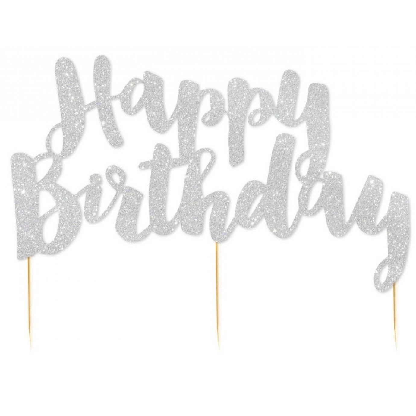 Cake Topper Glitter Silver Happy Birthday Cupcake Toppers
