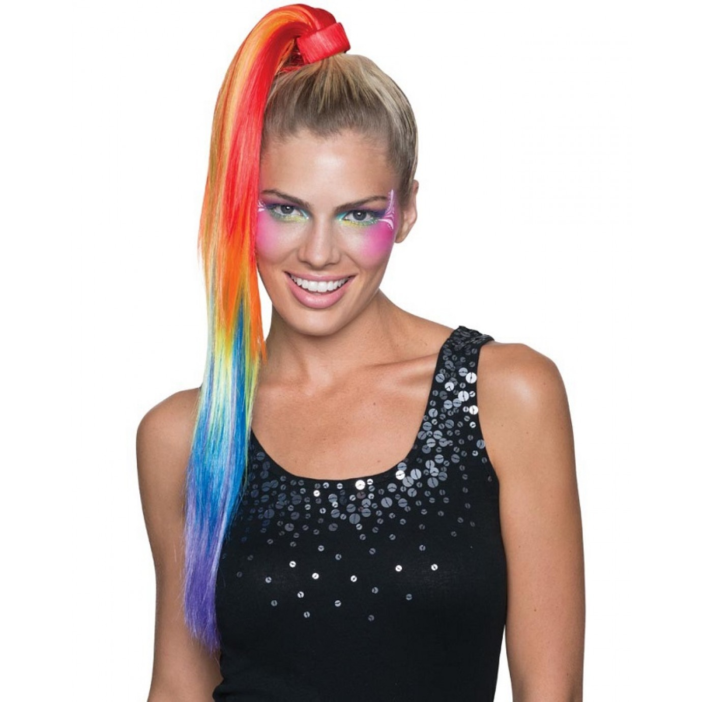Hair Extension Ponytail Rainbow Wigs Body Parts Cosmetics