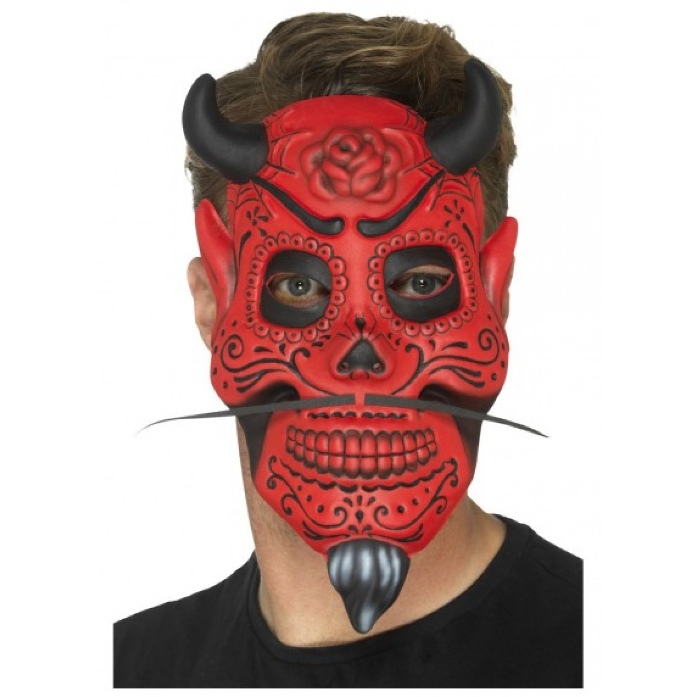 Day of the Dead Mask Red Black Pink Dia de Muertos Halloween Costume Accessory