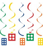 Ceiling/Hanging Decoration - Hanging Swirls, Block Party 5 pk