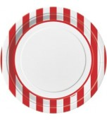 Plates - Dinner, Stripes Red 8 pk