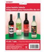 Bottle Labels - Wine Bottle 4 pk