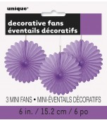 Decorative Fans - Mini, Purple 3 pk