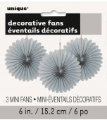 Decorative Fans - Mini, Silver 3 pk