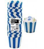 Baking Cups - Stripes, Blue 25 pk