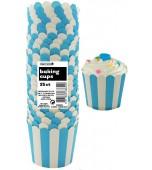 Baking Cups - Stripes, Pale Blue 25 pk
