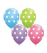 """Balloon - Latex, Print 11"""" Polka Dot Pastels"""