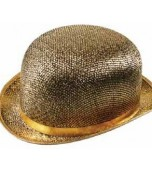 Bowler Hat - Glitter Fabric, Gold
