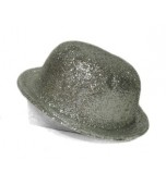 Bowler Hat - Glitter, Silver