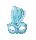 Daniella Mask - Blue w/Feather