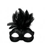 Daniella Mask - Black w/Feather