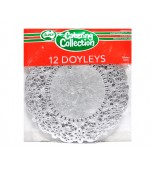 Doilies 166 mm, Round Silver 12 pk