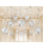 Ceiling Decoration - Shooting Stars 30 pk Silver