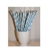Straws - Paper, Blue & White Stripe 25 pk