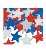 Scatters/Confetti, Stars - Red, Silver & Blue
