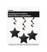 Ceiling Decoration - Shooting Stars 3 pk Black