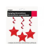 Ceiling Decoration - Shooting Stars 3 pk Red