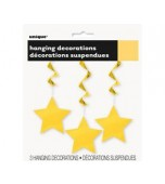 Ceiling Decoration - Shooting Stars 3 pk Yellow