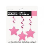 Ceiling Decoration - Shooting Stars 3 pk Hot Pink