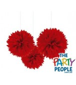 Ceiling/Hanging Decoration - Fluffy, A Red 3 pk