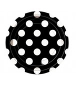 Dessert/Side Plates - Polka Dots Black 8 pk