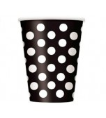 Cups - Polka Dots Black 6 pk