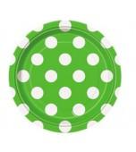 Plates - Dessert, Polka Dots Green 8 pk