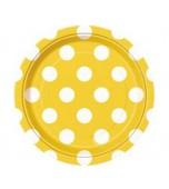Plates - Dessert, Polka Dots Yellow 8 pk