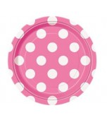 Dessert/Side Plates - Polka Dots Hot Pink 8 pk