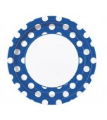 Plates - Dinner, Polka Dots Royal Blue 8pk