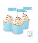 Cupcake Topper - Polka Dots, Blue 24 pk