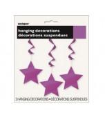 Ceiling Decoration - Shooting Stars 3 pk Purple