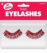 False Eyelashes - Tinsel, Red