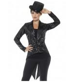 Adult Costume - Sequin Tailcoat Jacket, Black