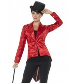 Adult Costume - Sequin Tailcoat Jacket, Red