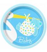 Dessert/Side Plates - Baby Stork, Blue 8 pk