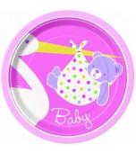 Dessert/Side Plates - Baby Stork, Pink 8 pk