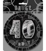 Badge - Glitz Black, 40th Birthday