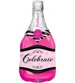 Balloon - Foil Super Shape, Champagne Bottle Pink