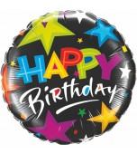 Balloon - Foil, Brilliant Stars Birthday Black
