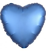 "Balloon - Foil, Heart 18"" Satin Azure Blue"