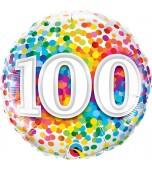 Balloon - Foil, Rainbow Confetti Birthday 100