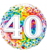 Balloon - Foil, Rainbow Confetti Birthday 40