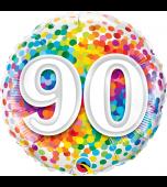 Balloon - Foil, Rainbow Confetti Birthday 90