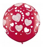Balloon - Latex 3' Etched Hearts Ruby Red