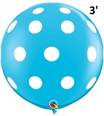 Balloon - Latex 3' Print Big Polka Robin's Egg Blue