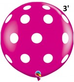 Balloon - Latex 3' Print Big Polka Wild Berry
